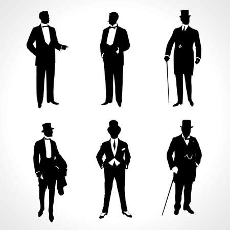 Set of male silhouettes.