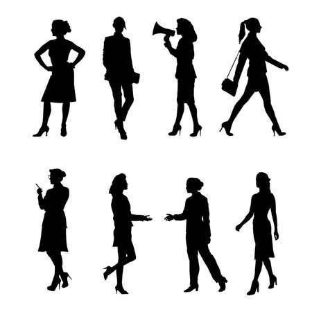 Silhouettes of Business Women. Vector set