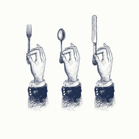 Manos con cubiertos. Cuchara, tenedor y cuchillo. Dibujo estilizado vintage. Ilustración de vector en un estilo retro grabado en madera