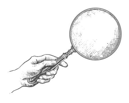Hand holding magnifying glass. Vintage Victorian Era Engraving style retro vector lineart Hand drawn illustration Ilustracja