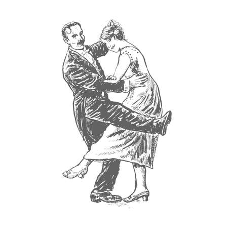 Private dancers. Couple dancing. Vintage vector lineart engraving style. Victorian Era hand drawing
