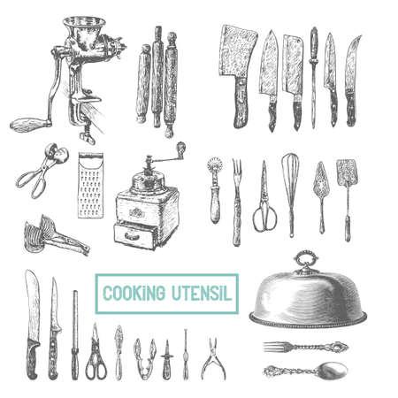 Küchenutensilien gesetzt. Vector große Sammlung von Hand gezeichnet Illustration mit Küchengeräte. Utensilien und Kochen Küchenartikel Skizze. Retro-Gravur-Stil