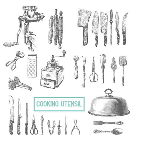 Kitchen utensils set. Vector large collection of hand drawn illustration with kitchen tools. Utensil and cooking. Kitchenware sketch. Retro engraving style