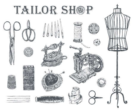 Vintage tailor shop. Tailor shears, needle and thread, spool of thread, Sewing Machine, thimble, charcoal iron, sartorial meter, buttons, pin-cushion, tambour. Hand drawn sewing tools 矢量图像