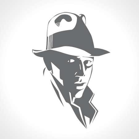 Siluetta dell'uomo in un cappello e vestito su un vettore bianco del fondo. Immagine in bianco e nero, retro stile americano detective, poster, segno di utilizzo. Illustrazione in stile noir