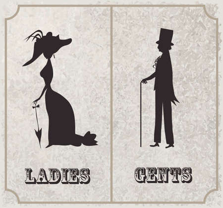 Lady and gentleman symbol.Toilet Sign in vintage style