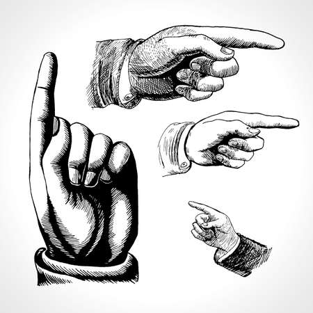 Retro pointing. Vintage and direction, finger-pointing and showing. Vector set retro vintage pointing hand drawing 矢量图像
