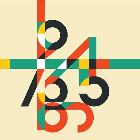Sfondo di matematica con numeri colorati. Simboli matematici astratti, illustrazione vettoriale Archivio Fotografico - 84369454