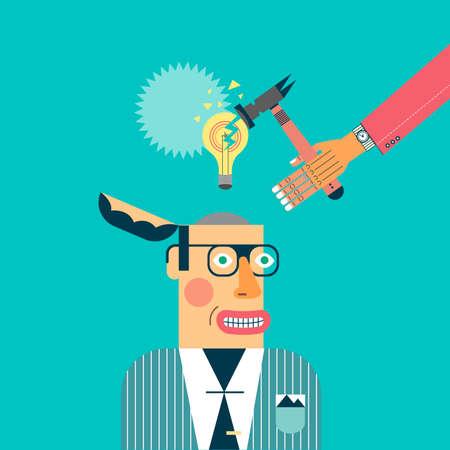 Vector concept illustration of broken light bulb, idea symbol. Business Idea Generation. Icons Background Flat Design
