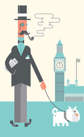 London gentleman and his dog on the London Street. London skyline with Big Ben. Icons Background Flat Design Illustration