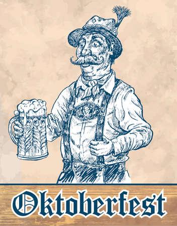 Oktoberfest beer festival celebration poster or flyer template. Man in traditional bavarian clothes holds oktoberfest mug of beer. Hand drawn vector illustration, vintage engraved style