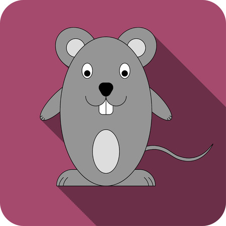 Vector bright burgundy flat icon mouse icon.