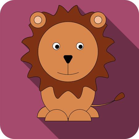 Vector bright burgundy flat icon lion icon.