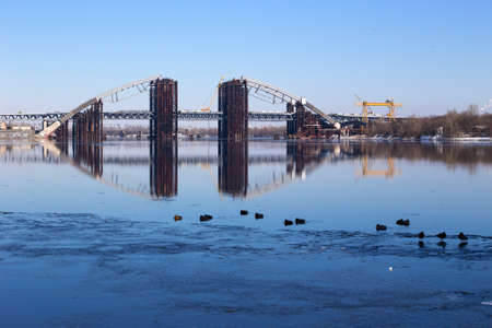 Construction of a bridge across the Dnieper. Kiev, Ukraine. Stock Photo - 18145203