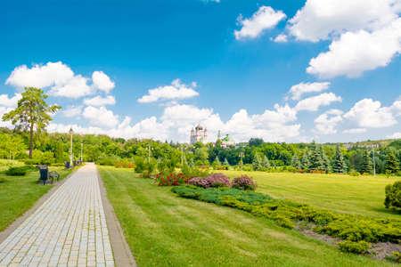 panteleimon: View on the Female St. Panteleimon Monastery in the park Feofania. Kiev, Ukraine Stock Photo