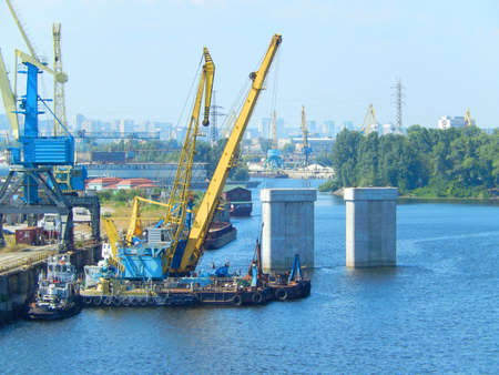 Parking river cranes on the river Dnieper Stock Photo - 21465949
