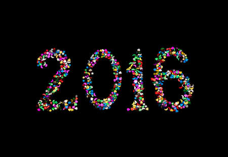 New year 2016 written by glitter on a black background