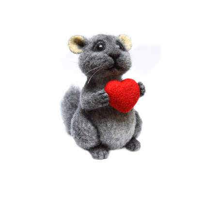 Felted chinchilla with the heart in paws