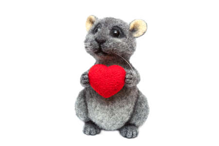 chinchilla: Felted chinchilla with the heart in paws