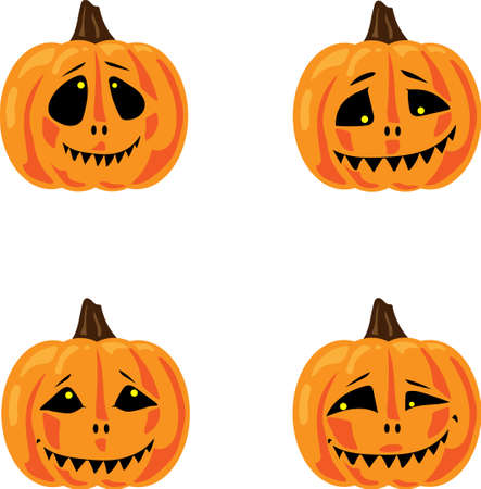 Smiling halloween pumpkins isolated on white background