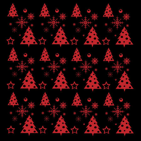 Pattern illustration on christmas trees and snow Ilustração