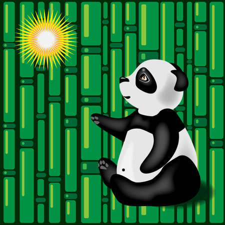 Giant panda on the bamboo forest background Ilustração