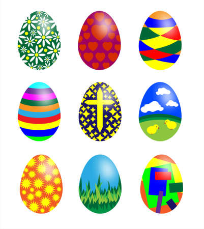 Set of patterned Easter eggs isolated on white