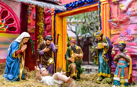 god's cow: Thailand - DECEMBER 3, Maria. Outdoor nativity scene of life-sized figurines on area Editorial