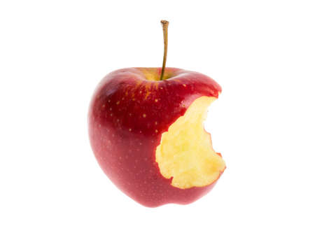 Red apple is half bitten isolated on a white background.