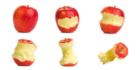 Collection fo fresh apple with bite apple on white background. Stockfoto
