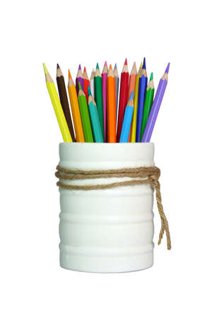 pencil holder: A stack of pencil color on white background