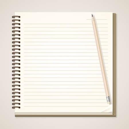 紙のノートと鉛筆  イラスト・ベクター素材