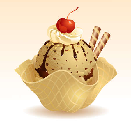 Coffee Ice cream with waffle basket Vector