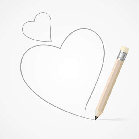 Pencil drawing heart Vector
