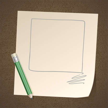Pencil drawing Frame Square on Paper Vector