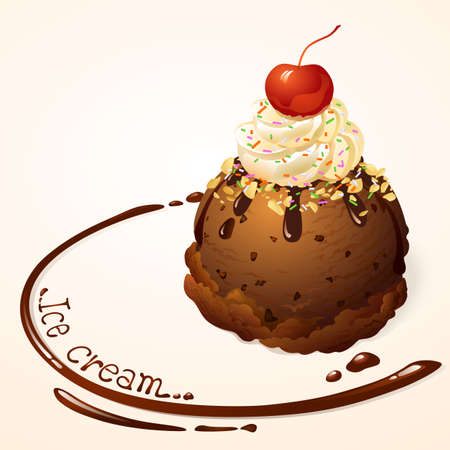 Chocolate Ice cream with chocolate sauce Vector