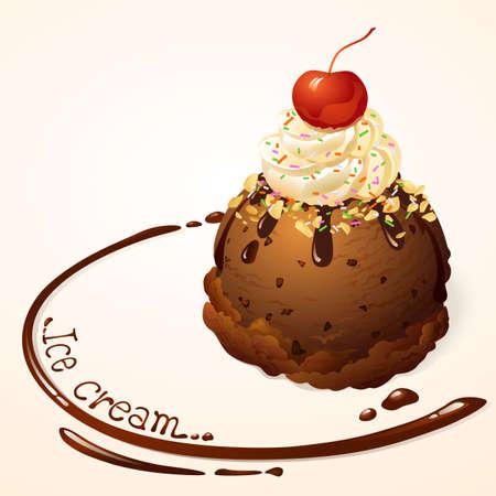Chocolate Ice cream with chocolate sauce Illustration