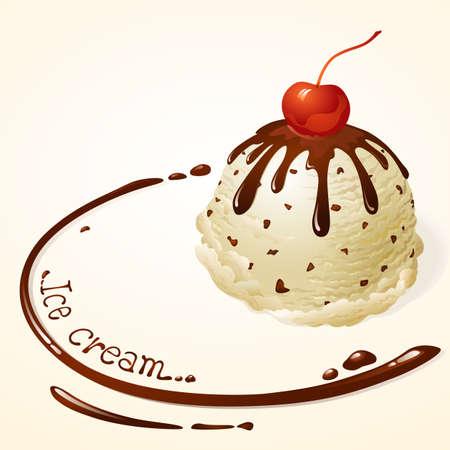 coppa di gelato: Vanilla Chocolate Chip Gelato con salsa di cioccolato Vettoriali