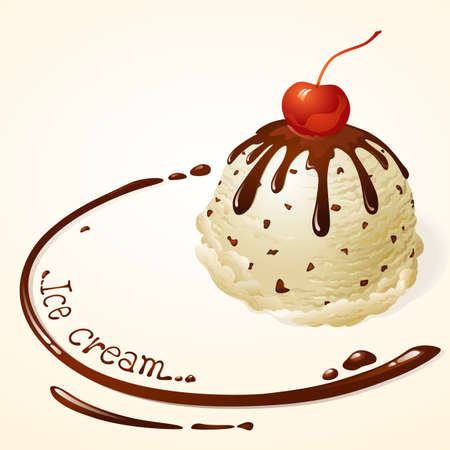 Vanilla Chocolate chip Ice cream with chocolate sauce Vector