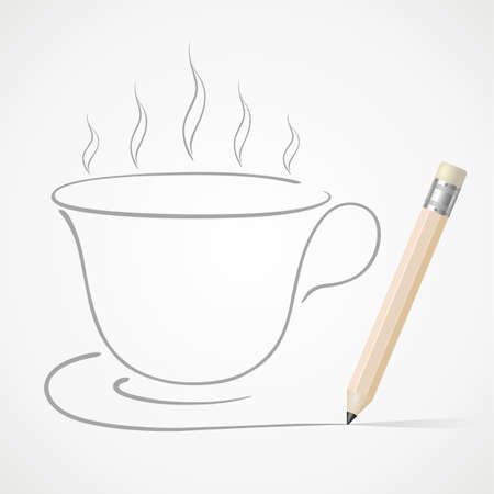 Pencil drawing Coffee cup Vector