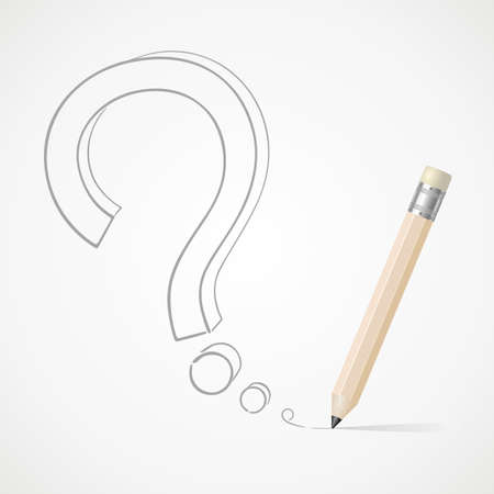 Pencil drawing question mark Vector