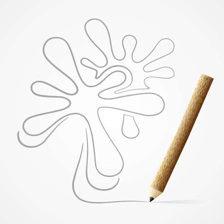 Pencil drawing drop line Vector