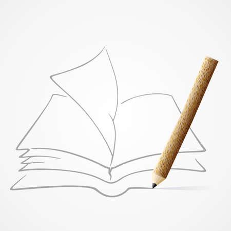 book mark: Pencil drawing Book Illustration