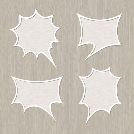 Bubble for speech set, Wooden style Vector