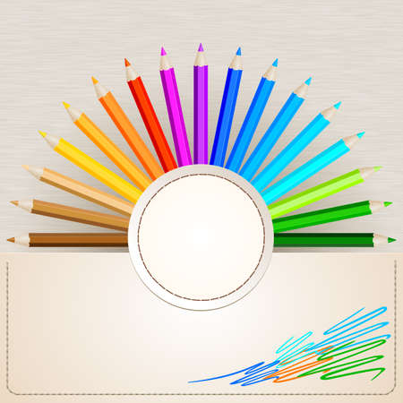Color pencils on paper background Vector