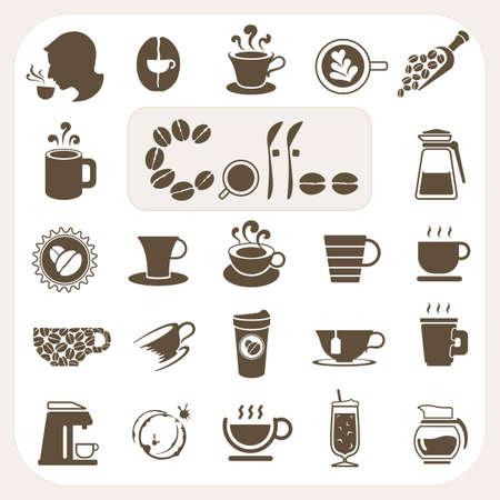 semilla de cafe: Colección de café, iconos Vector conjunto