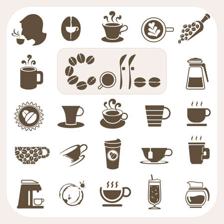 Inzameling koffie, Vector iconen set