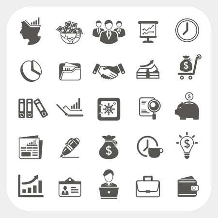 Zaken, financiën pictogrammen instellen Stock Illustratie