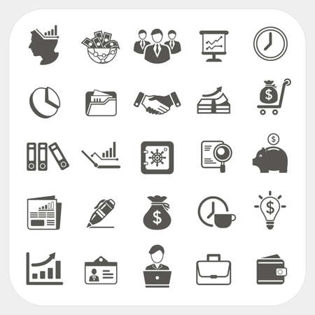 contact icon: Zaken, financiën pictogrammen instellen Stock Illustratie