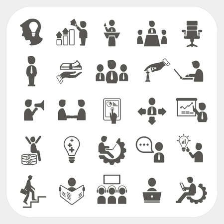 Management and Business icons set Illustration